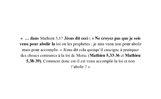 La loi de Moïse et la loi de Christ